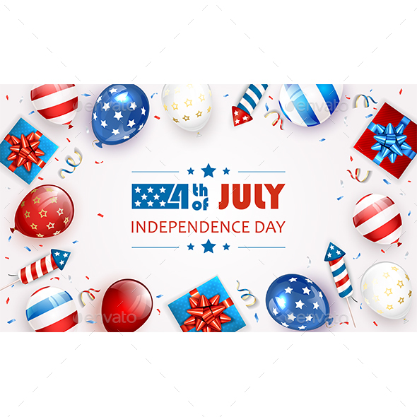 White Background with Balloons and Text Independence Day