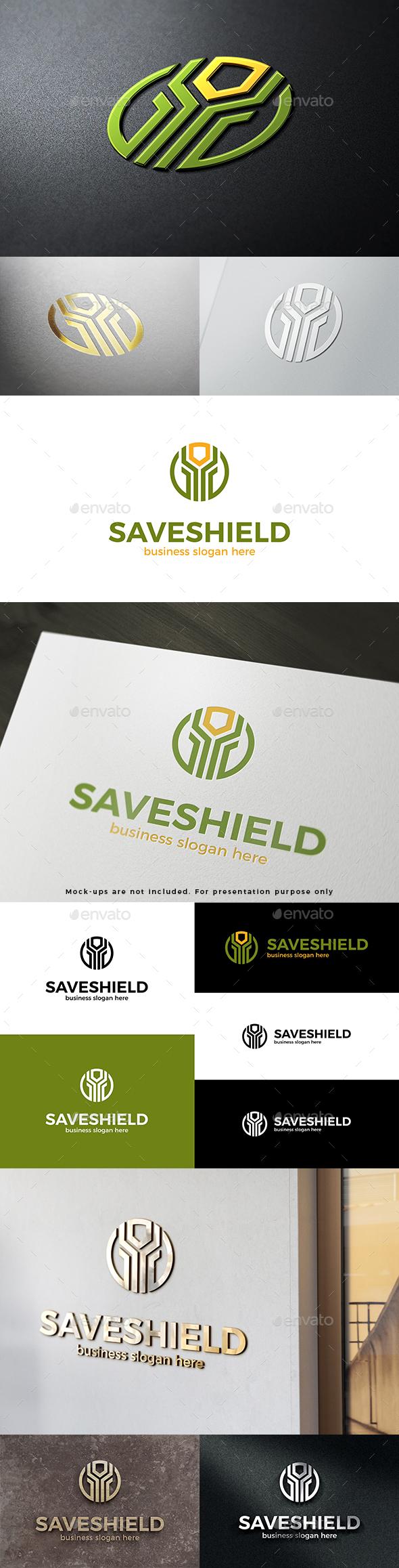 Save Shield Abstract Vector Logo Template
