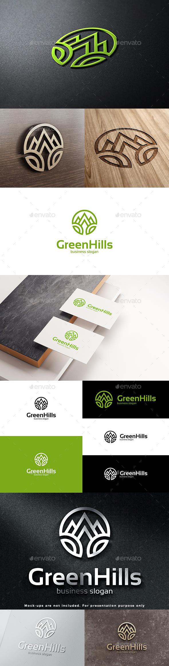 Green Hills Mountains Peaks Logo