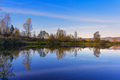 Beautiful fall landscape with blue sky reflected in the water - PhotoDune Item for Sale