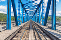 Blue river railway bridge view - PhotoDune Item for Sale