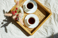 Breakfast in bed, try with two cups coffee and flower in sunlight at home - PhotoDune Item for Sale
