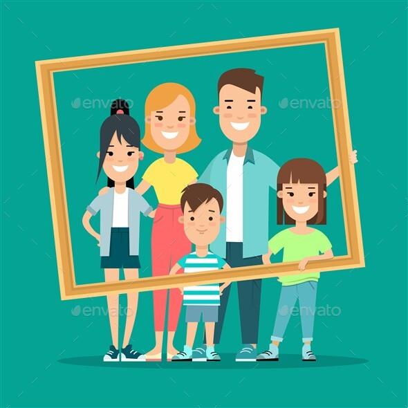 Flat Happy Family Portrait Picture Vector Illustration.