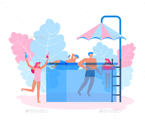 Family Character Vector Design. Concept Time to Swimming.