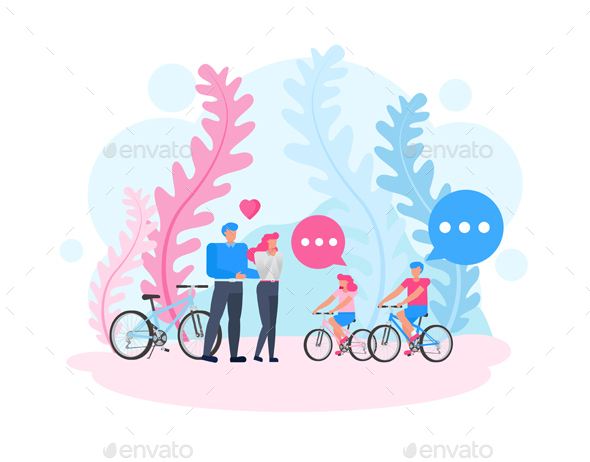 Family Ride Bicycle Character Vector Design.