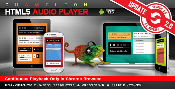 Chameleon HTML5 Audio Player z / bez listy odtwarzania