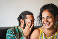 Cheerful indian wife and husband having fun together at home - Focus on woman face - PhotoDune Item for Sale