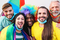 Portrait of multiracial gay people having fun at lgbt pride parade - Focus on front faces - PhotoDune Item for Sale