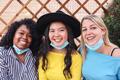 Portrait of happy multiracial friends taking selfie outdoors during coronavirus outbreak - PhotoDune Item for Sale