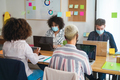 Young coworkers inside modern office wearing protective masks for coronavirus prevention - PhotoDune Item for Sale
