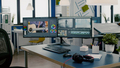 Modern creative workplace with nobody in and dual displays setup - PhotoDune Item for Sale
