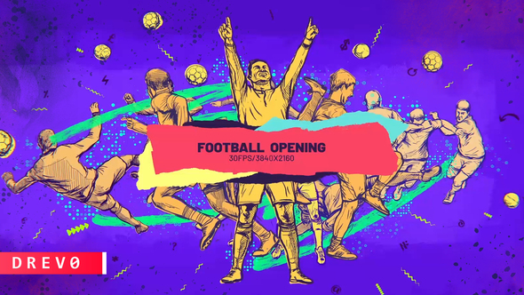 Football Opener/ Soccer Live/ TV Intro/ Sport/ Ball/ Dynamic Brush/ Draw/ Game Promo/ Players/ Event