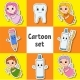 Set of Stickers with Cute Cartoon Characters - GraphicRiver Item for Sale