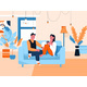 Couple Sitting on Sofa at Home - GraphicRiver Item for Sale