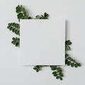 A sheet of paper with green leaves on a grey background - PhotoDune Item for Sale