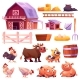 Farm Isolated Icons Set - GraphicRiver Item for Sale