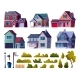 Suburban Street Elements Set Houses and Plants - GraphicRiver Item for Sale