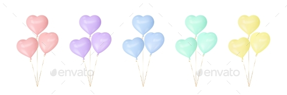 Set of Colorful Heart Balloons