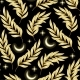 Vector Seamless Pattern with Golden Leaf Ans Moon - GraphicRiver Item for Sale