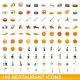 100 Restaurant Icons Set Cartoon Style - GraphicRiver Item for Sale