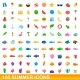 100 Summer Icons Set Cartoon Style - GraphicRiver Item for Sale