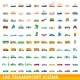 100 Transport Icons Set Cartoon Style - GraphicRiver Item for Sale