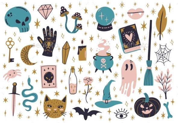 Halloween Witchcraft Elements