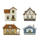 Set of Classic Vintage House Facades Isolated - GraphicRiver Item for Sale