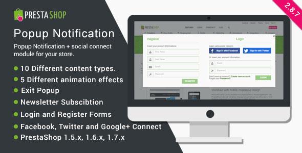 Wyskakujące powiadomienie PrestaShop + Social Connect