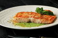 Grilled salmon with sauce and spices on a white plate on a dark background - PhotoDune Item for Sale