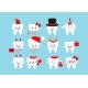 Chistmas Smilling Teeth Dental Icon Set Isolated - GraphicRiver Item for Sale
