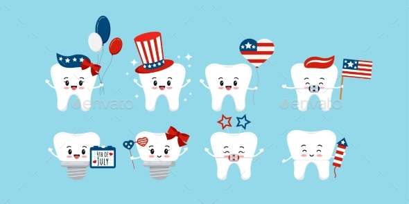 4 Th of July Teeth Dental Icon Set Isolated