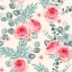 Vector Seamless Pattern with Roses and Eucalyptus - GraphicRiver Item for Sale