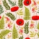 Meadow Flowers and Leaves Vector Seamless Pattern - GraphicRiver Item for Sale
