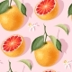 Seamless Pattern with Grapefruit Slices and Leaves - GraphicRiver Item for Sale
