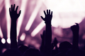 Crowd at a music concert with raising hands up - PhotoDune Item for Sale