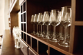 Empty wine glasses in row. Shallow depth of field. Focus on foreground - PhotoDune Item for Sale