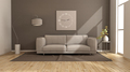 Modern living room with brown wall and beige sofa - PhotoDune Item for Sale