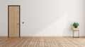 Empty room with closed door and houseplant - PhotoDune Item for Sale