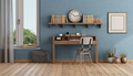 Retro style home office with small wooden desk - PhotoDune Item for Sale