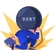 Worker Holding on Back Heavy Weight of Debt - GraphicRiver Item for Sale