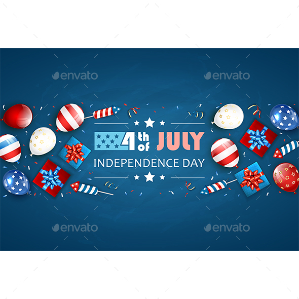 Independence Day Blue Background with Balloons and Fireworks