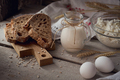 Fresh dairy products: milk, cottage cheese, multigrain homemade bread, fresh eggs and wheat - PhotoDune Item for Sale