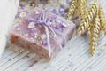 Natural handmade soap, sea salt, towel, oat flakes and wheat ears - PhotoDune Item for Sale