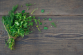 Mix of fresh herbs on wooden background. - PhotoDune Item for Sale