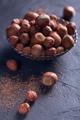 Hazelnut and cocoa powder in dark background. - PhotoDune Item for Sale