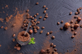 Hazelnut, coffee beans and cocoa powder in dark background. - PhotoDune Item for Sale