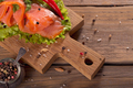 Slices of smoked salmon with dill, chili pepper, tomatoes and bread - PhotoDune Item for Sale