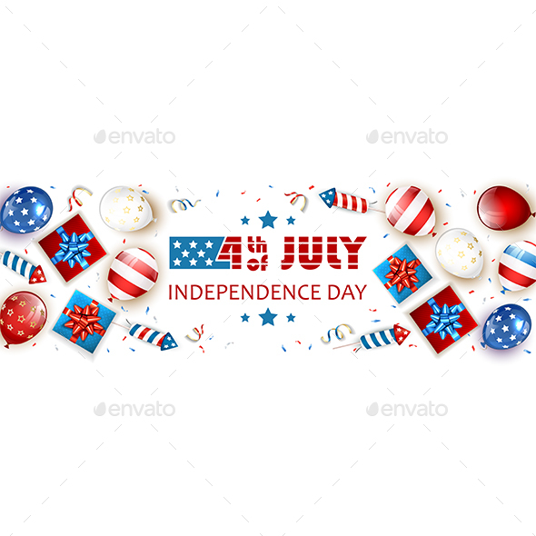 Independence Day White Background with Balloons and Fireworks