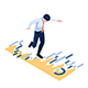 Isometric Businessman Walking and Balancing on Financial Graph - GraphicRiver Item for Sale